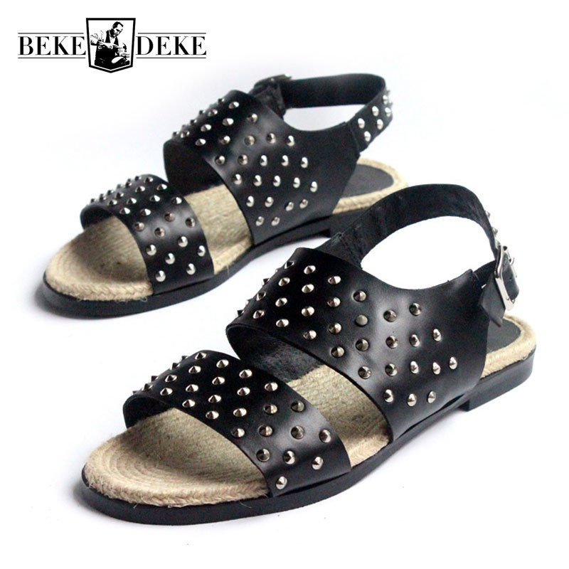 England Style Summer Mens Rivet Gladiator Sandals Designer Real Leather Beach Slippers Open Toe Breathable Casual Man Shoes цена