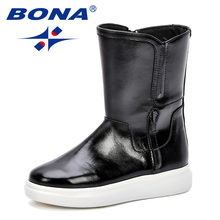 BONA New 2018 Fashion Style Autumn Kids Boots Children's Shoes Girls With Mid-Calf Two Zippers Trendy  Boots Platform Footwear