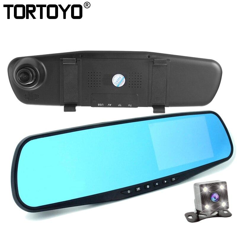 TORTOYO Full HD 1080P 4.3 LCD Rearview Mirror Car DVR Rear Dash Camera Video Recorder Camcorder with Rear Dual Lens G-Sensor цена