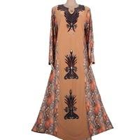 Muslim Kaftan Abaya Islamic Clothes For Women Luxury Beads Design Dubai Kaftan Khaki MT542
