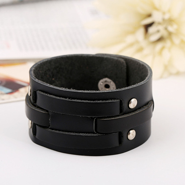 Fashion Wide Leather Bracelets Black Charm Bracelets & Bangles
