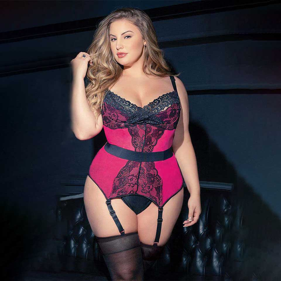 Sgmuk plus size sexy black lace bra and knicker lingerie