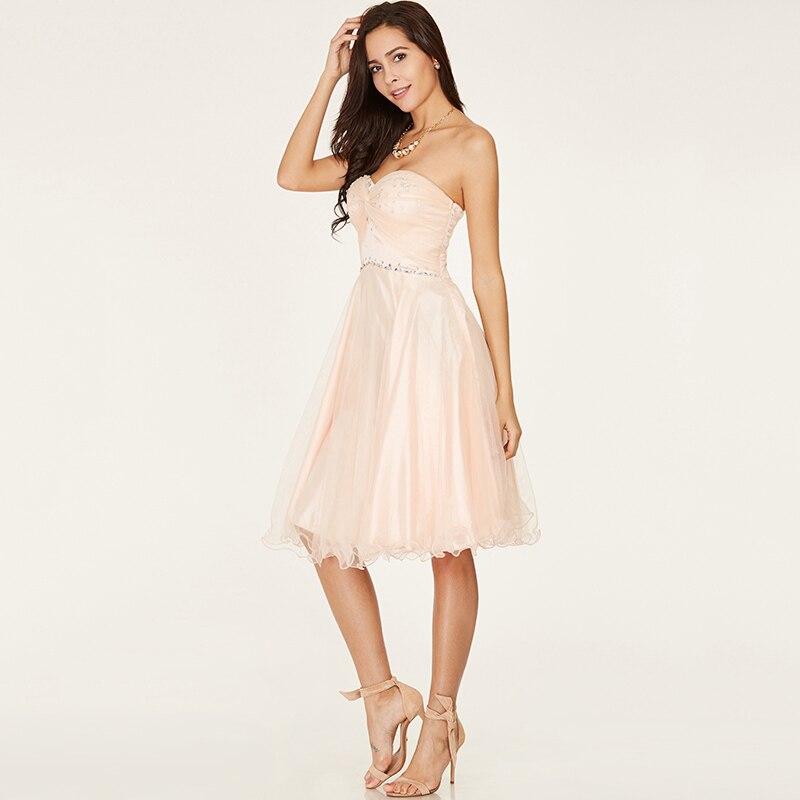 Tanpell kort hemkomst klänning rosa älskling ärmlös över knä en - Särskilda tillfällen klänningar - Foto 2