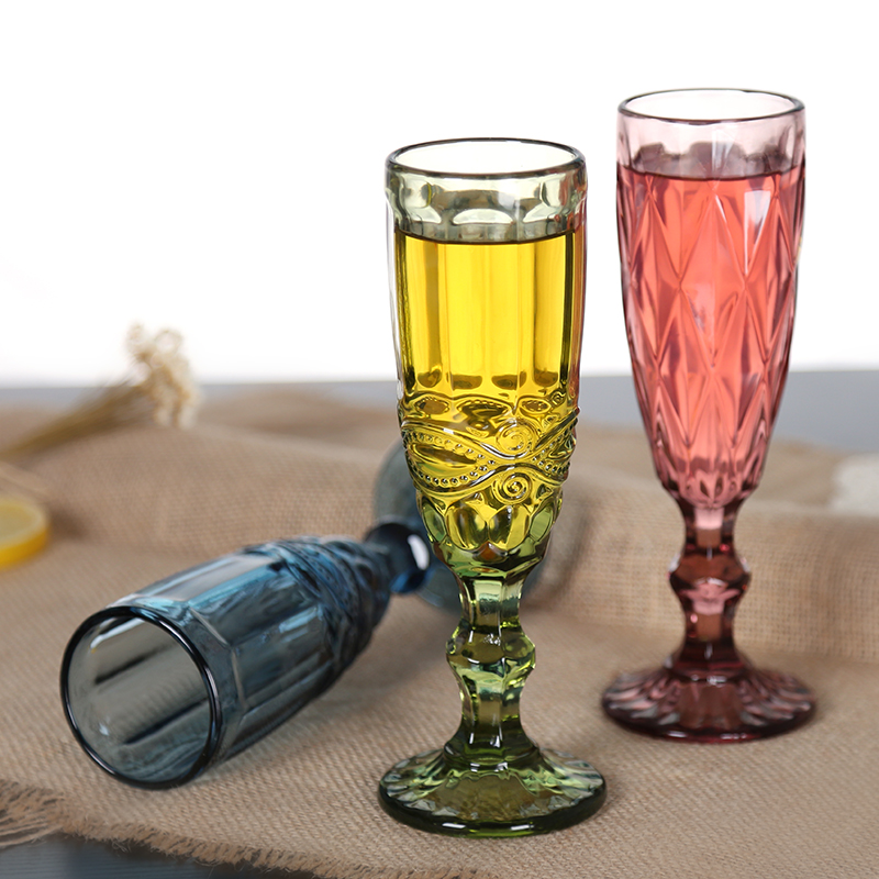 Colorful Crystal Glass Wine Glasses High Foot Champagne