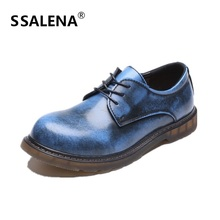 Men Round Toe Oxfords Shoes Men's Casual Lace-Up Low To Help Shoes Male Korean Version Anti-Skid Leather Shoes #C011