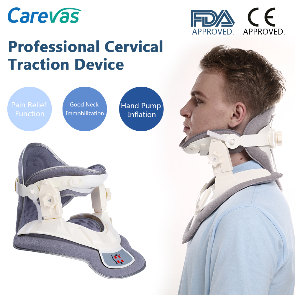 Carevas Cervical Traction Device Collar Neck Brace Support for Neck & Upper Back Pain Relief Immobilization FDA & CE Approved neck cervical traction device inflatable collar household equipment health care massage device nursing care
