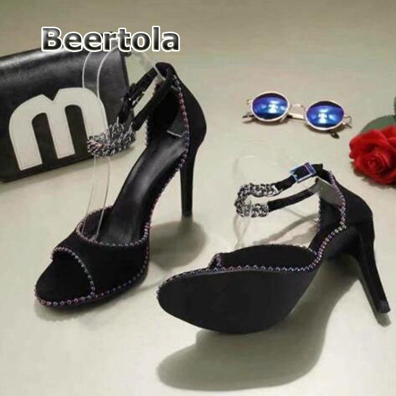 Mode Designer Beertola Cloutés Sangle D'été Rivets Femmes Hauts Avec Noir Chaussures Talons Cheville Des Sandales dvzRvB