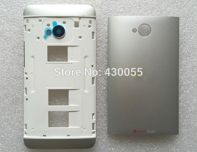 Silver 100% New Full housing Cover Case Middle Frame + Back battery Door + Buttons For HTC One M7 802w 802t 802d (Dual Sim)