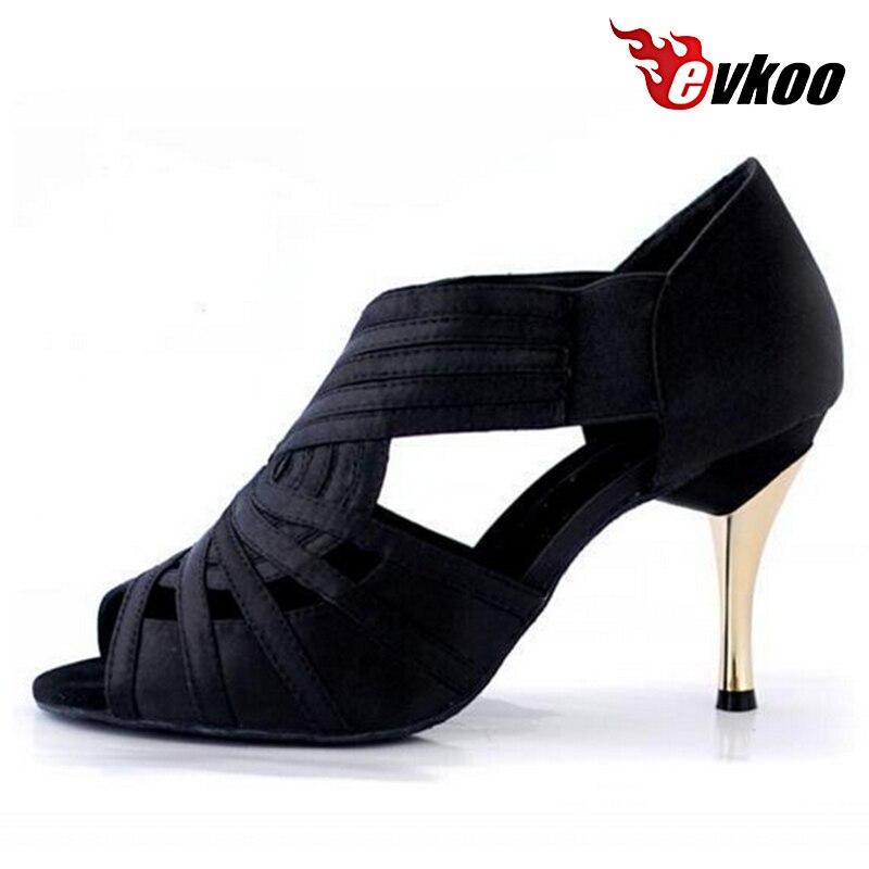 Evkoodance удобные женские Костюмы для латиноамериканских танцев Обувь 8.5 см высокий каблук черный хаки Цвет Костюмы для бальных танцев Костюмы ...