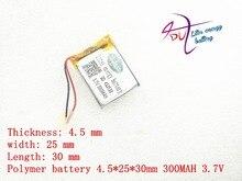 3,7 в литий полимерная батарея 452530 300 мАч MP3 MP4 Bluetooth зажим для батареи с защитной платой
