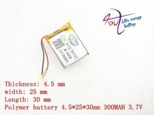 Image 1 - 3.7 v ليثيوم بوليمر بطارية 452530 300 MAH MP3 MP4 بلوتوث مشبك بطارية مع لوح حماية