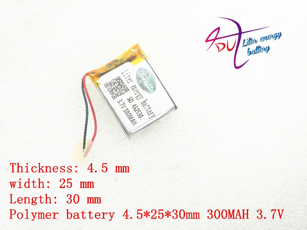 3.7v lithium polymer battery 452530 300MAH MP3 MP4 Bluetooth battery clip with protection board 3 7v lithium polymer battery 042035 402035 300mah mp3 mp4 mp5 battery bluetooth headset battery