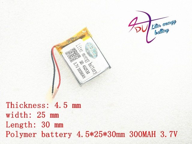 3.7v lithium polymer battery 452530 300MAH MP3 MP4 Bluetooth battery clip with protection board