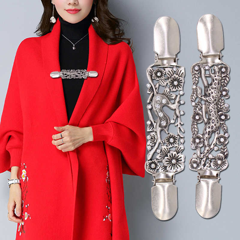 Cardigan Clip Sweater Shawl Clips Guardian Necklace Duck Mouth in Metal Clip Holder Legs Accessory Jewelry Best Gift