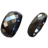 2017 2PC Faceted Cut Surface Magnetic Hematite Stone Finger Band Rings US Size 6 75 7