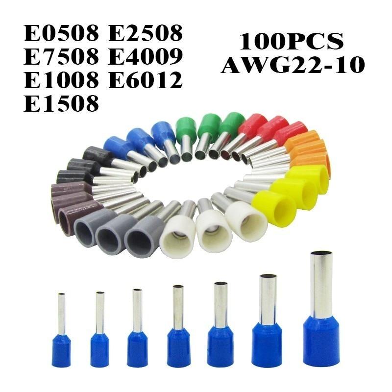 100 unidades/pacote e0508 e7508 e1008 e1508 e2508 isolou virolas terminal bloco cabo extremidade fio conector de friso elétrico terminador