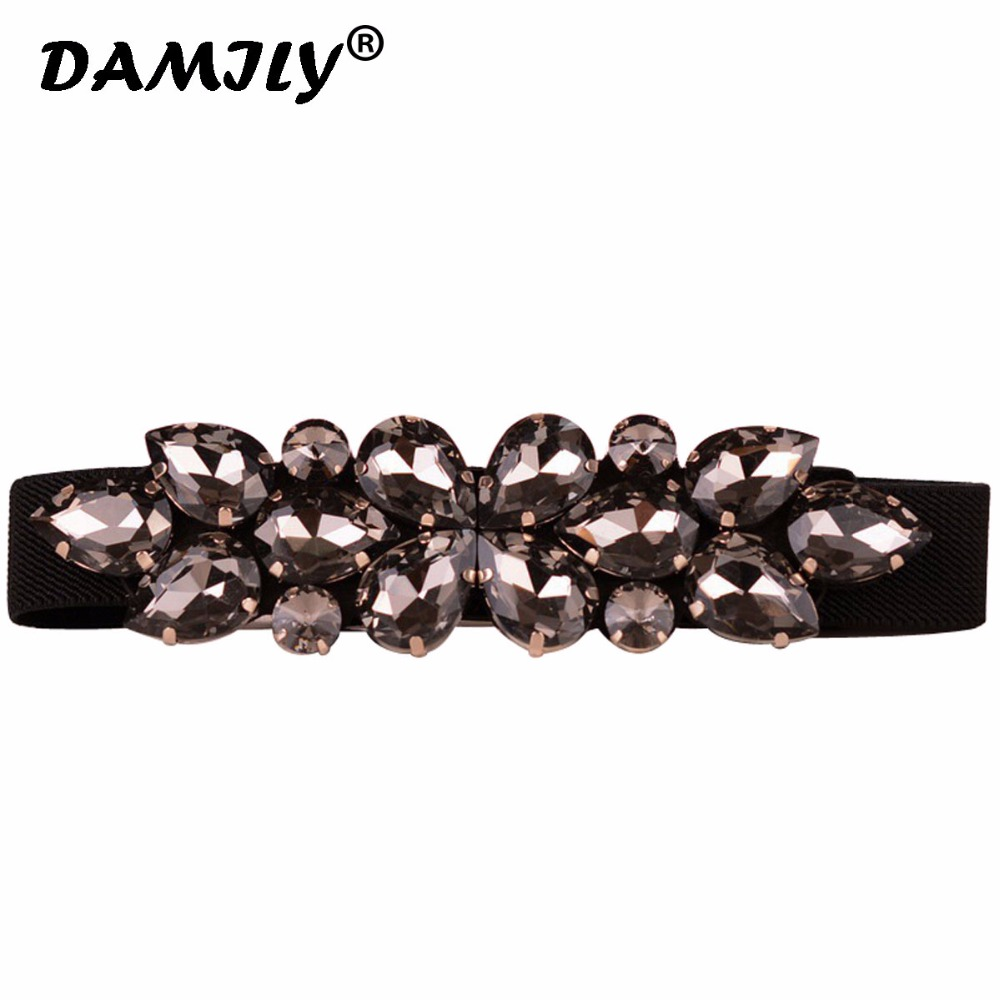 Fashion Women   Belt   Luxury Rhinestone Design Stretch Waist Dress   Belts   Brand New Skinny Elastic Straps Ceinture Cinturones Mujer