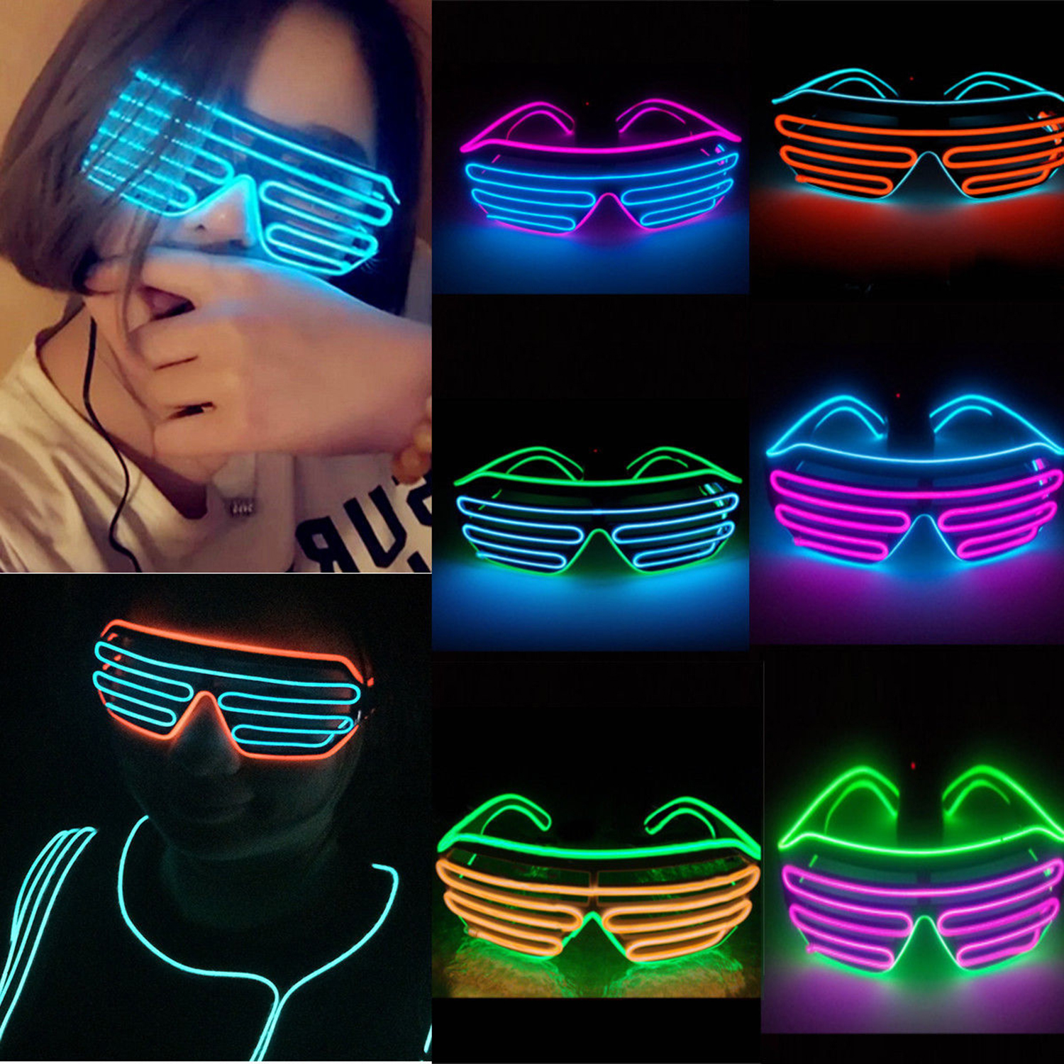 Two-color Blinds Modes Flash EL LED Glasses Luminous Party Lighting Colorful Glowing Classic Toys for Dance DJ,Party Mask