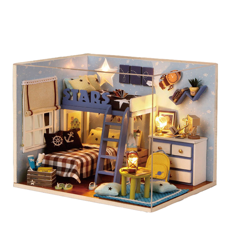 diy bedroom furniture kits. diy 3d wooden dollhouse miniature girl\u0026#39;s bedroom model kit with cover and diy furniture kits