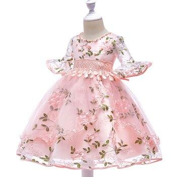 307c5763 Платья принцессы для маленьких девочек Летнее Детское фатиновое платье для  свадьбы с цветочной вышивкой NSV775