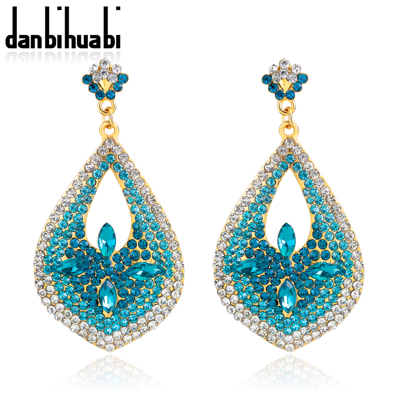 Helpful New Clear Blue Crystal Rhinestone Ms Pendant Earrings, High Quality Gold Big Earrings Jewelry For Women