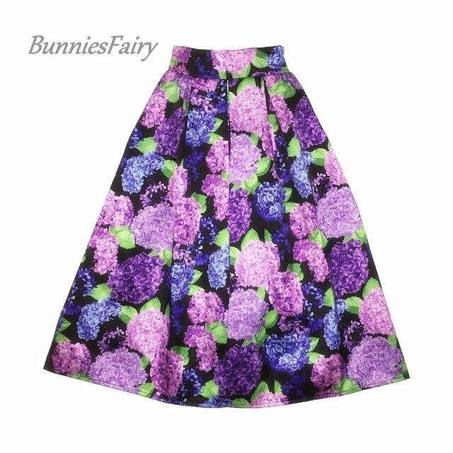 BunniesFairy 2018 Fall New Hepburn Vintage Elegant Style Ladies Retro Hydrangea Flower Floral Print High Waist Midi Skirt Falda