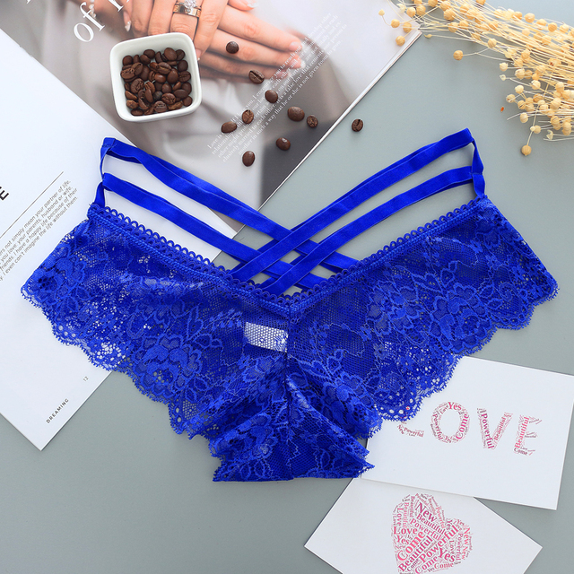 Sexy Panties Women Lace Low-rise Solid Sexy Briefs Female Underwear Pant Ladies Cross strap lace Lingerie Women G String Thong 3