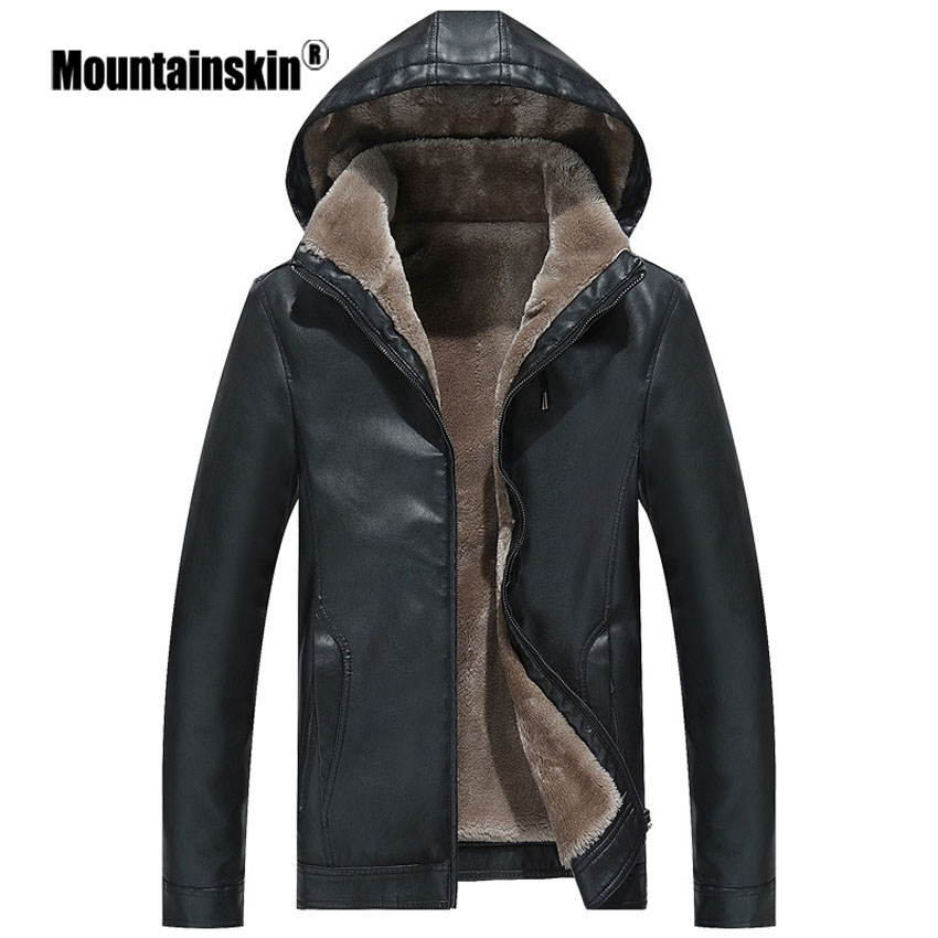 Mountainskin Winter Men's Leather Jacket Warm Thick PU Coat Male Thermal Fleece Jackets Faux Leather Men Brand Clothing SA506 1