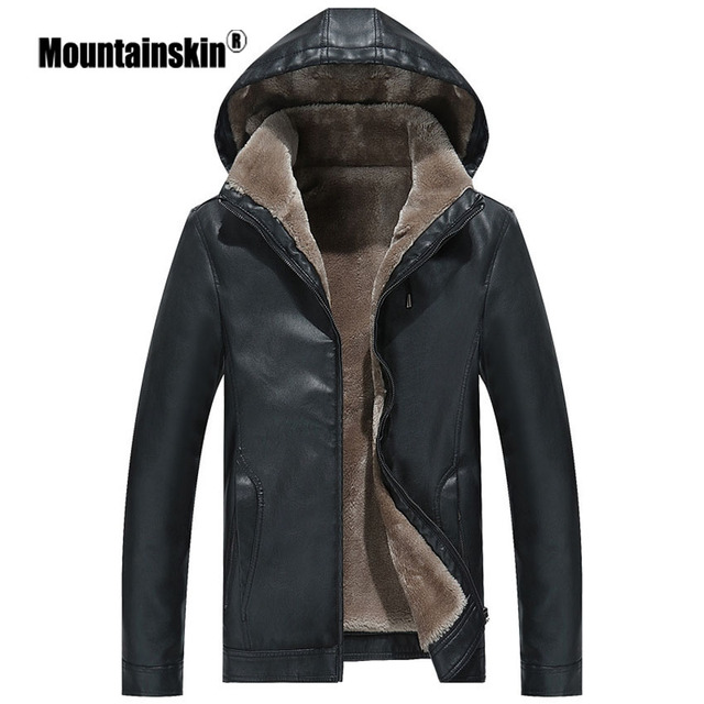 $ US $37.95 Mountainskin Winter Men's Leather Jacket Warm Thick PU Coat Male Thermal Fleece Jackets Faux Leather Men Brand Clothing SA506