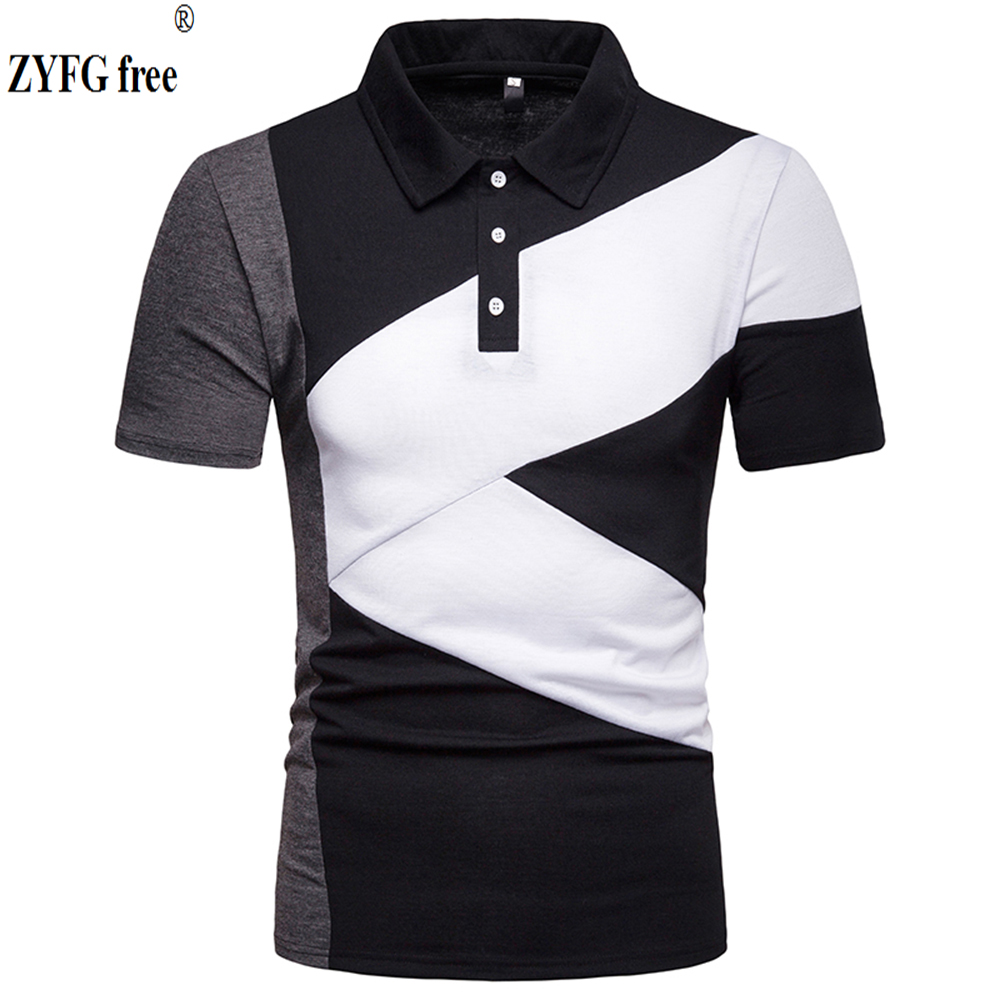 Fashion men   polo   short sleeved turn-down collar splice cotton blend polyester   polo   shirt simple causal style Tops