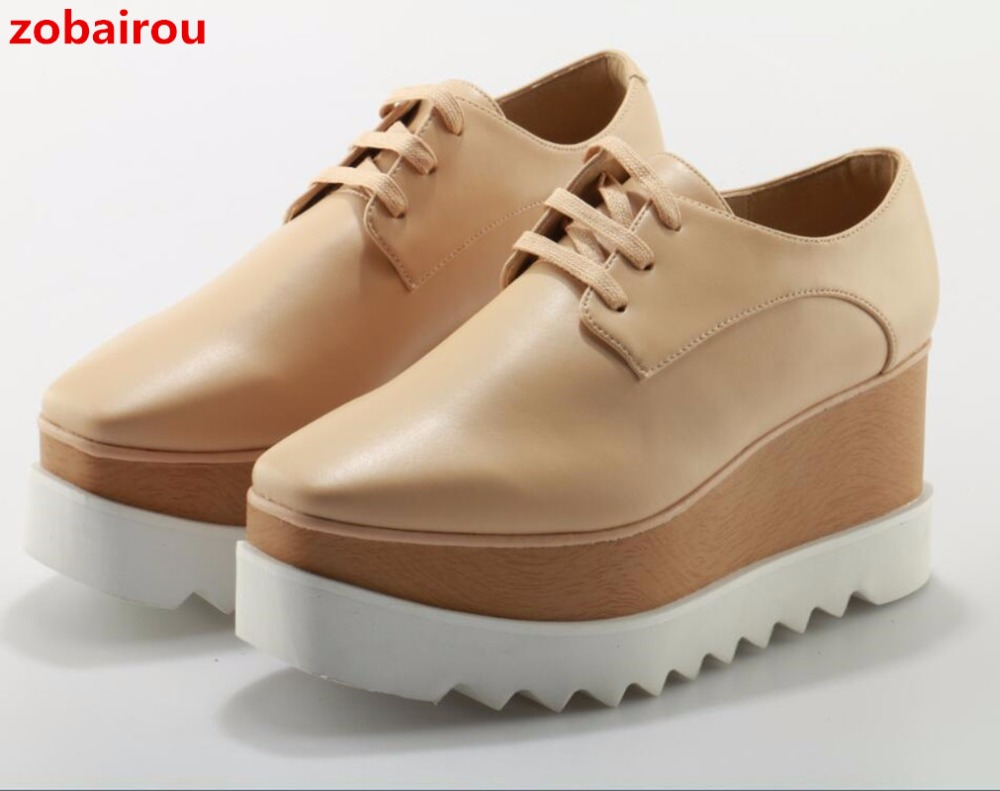 Zobairou British Style Brogue Shoes Woman Brand Stars Bullock Leather Lady Derby Shoes Creepers Lace Up Platform Casual Shoes cbjsho british style brogue shoes men s lace up casual leather men dress shoes flat solid color fashion bullock shoes man