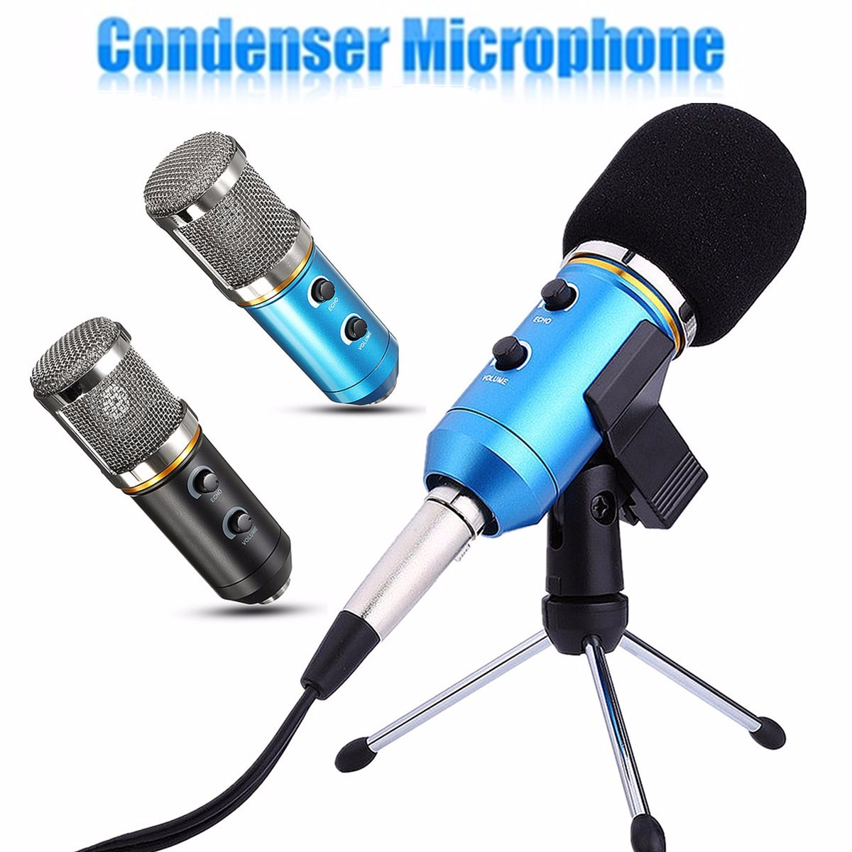 stereo studio condenser microphone usb professional condenser microfone with stand karaoke mic. Black Bedroom Furniture Sets. Home Design Ideas