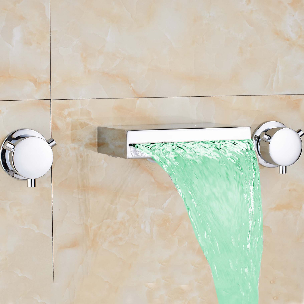 ФОТО LED Color Changing Widespread Waterfall Spout Dual Handles Basin Tub Faucet Square Spout Mixer Tap Faucet