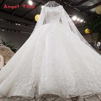 Luxury Long Sleeves Wedding Dress Beading Ball Gown Lace Up Lace Ivory Bridal Wedding Gowns With