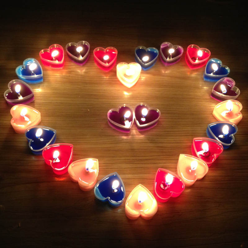 9PCS Heart Shape Vela Candle Birthday Wedding Party Home Decor Candles Candele Love Gift Velas Cumpleanos Bougie Anniversaire BA
