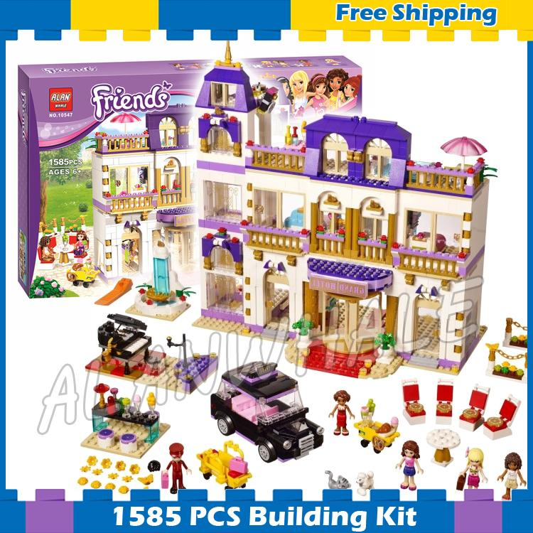 1585pcs Friends Series Heartlake Grand Hotel 10547 Model Building Gifts sets Blocks Emma Stephanie girls Compatible With Lego building hotel kpis