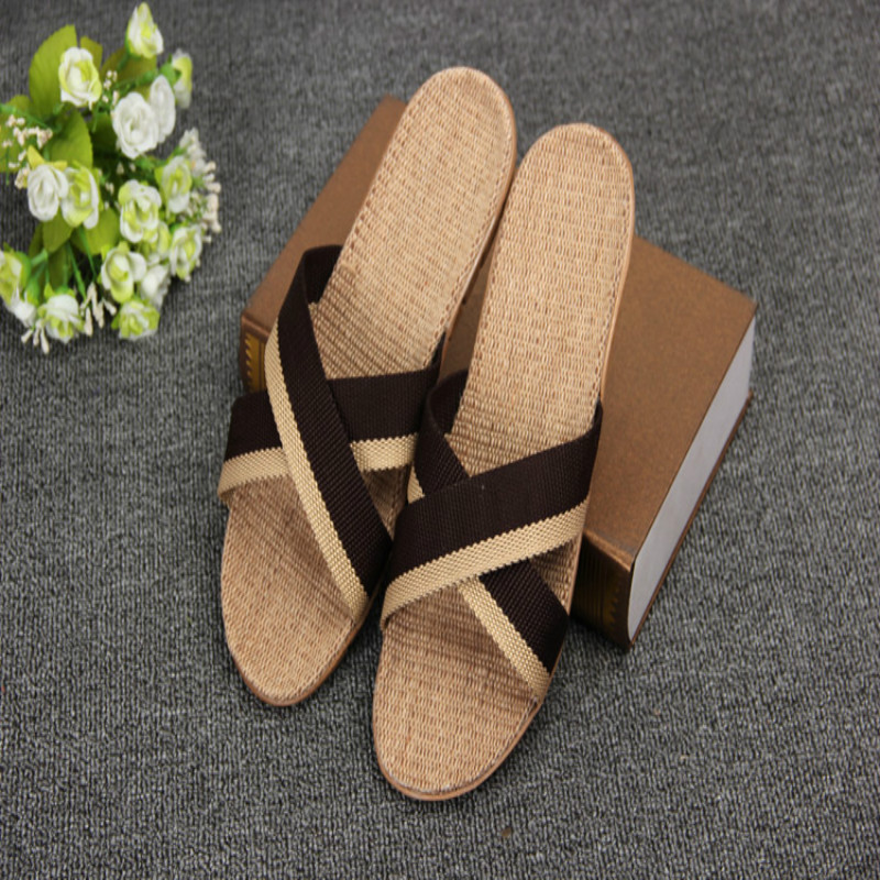 2019 Spring and summer home flax slippers men slippers sandals - Men's Shoes - Photo 2