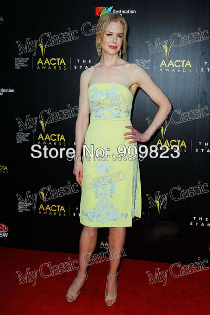 d8b5d39cbffd New Arrival Nicole Kidman Strapless Slivery Embroidery Knee-Length Yellow  Mini Short Celebrity Evening Dresses New Fashion