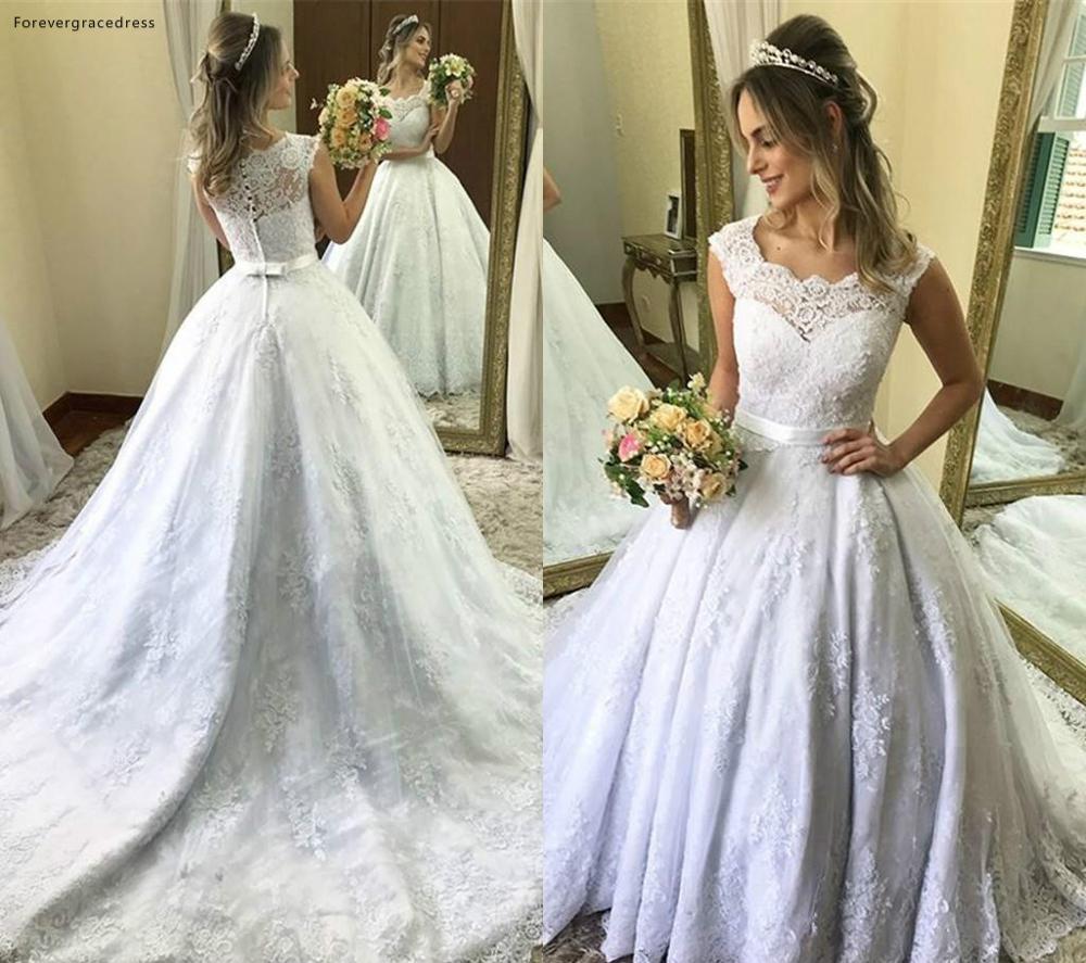Vintage Cap Sleeve Wedding Dresses 2019 Saudi Arabic Dubai Appliques Formal Bride Bridal Gowns Plus Size Custom Made