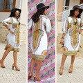 2016 Promoción de África Bazin Riche Africano Ropa de Mujer Vestido de La Manera Más Nuevos Dashiki Succunct Tranditional Imprimir V Neck Para