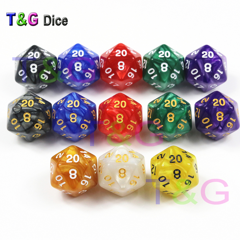 10 Pcs/set Brand New D20 Dice for Rpg DnD 20 Sided Games Dices Beautiful Colors Desktop Polyhedral Set ,for Role Playing Game
