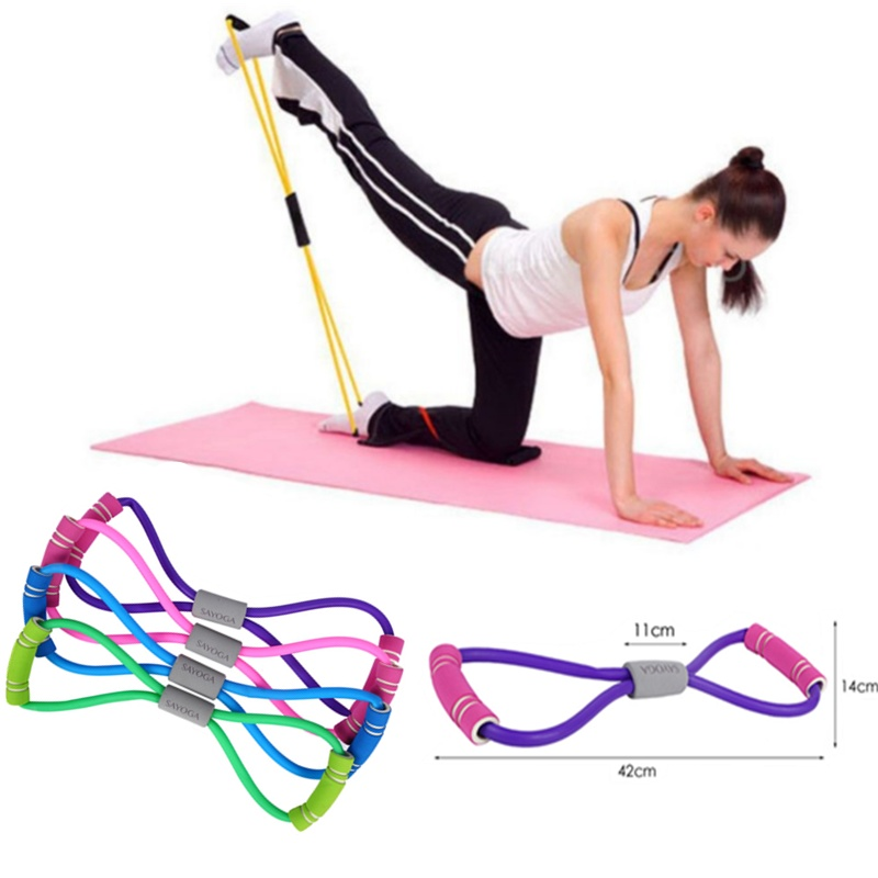 New Gym 8 Word Elastic Band Chest Developer Rubber LOOP Latex Resistance Bands Fitness Equipment Stretch Yoga Training Crossfit