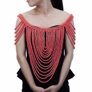 Image 2 - תכשיטים וינטג הצהרת גוף כתף ביב מלא שרף חרוזים שרשרת נשי צווארון כתף שרשרת ארוך נשים collares