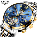 Часы LIGE мужские  брендовые  Роскошные  автоматические  механические  деловые  полностью стальные  водонепроницаемые  спортивные  наручные ч...
