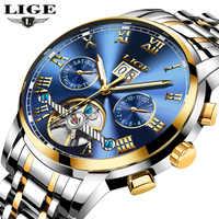LIGE hommes montres Top marque de luxe automatique mécanique Montre hommes affaires en acier étanche Sport Montre-bracelet Montre Homme