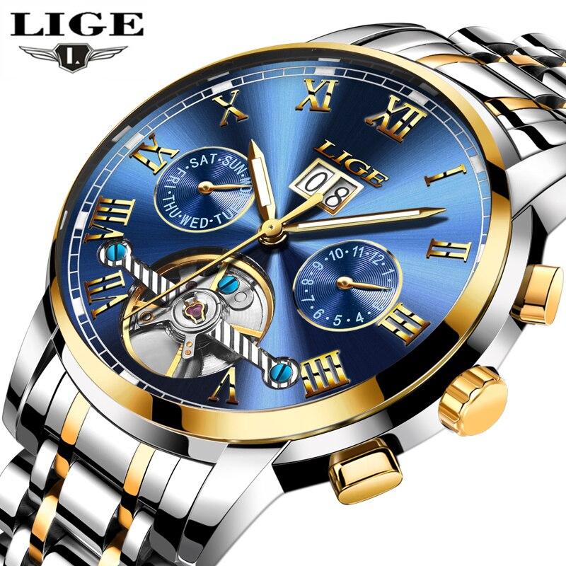 Reloj mecánico automático de lujo de marca LIGE para hombre, reloj de pulsera deportivo de acero resistente al agua, Montre Homme