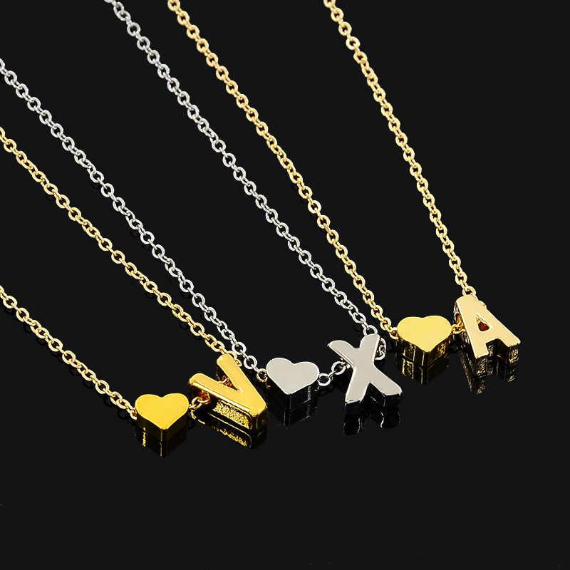 Nome Do Coração carta Trendy Minúsculo Dainty 2019 Colar para Mulheres Declaração Cadeia Pingente Colares de Ouro Gargantilha Dorp Inicial Jóias