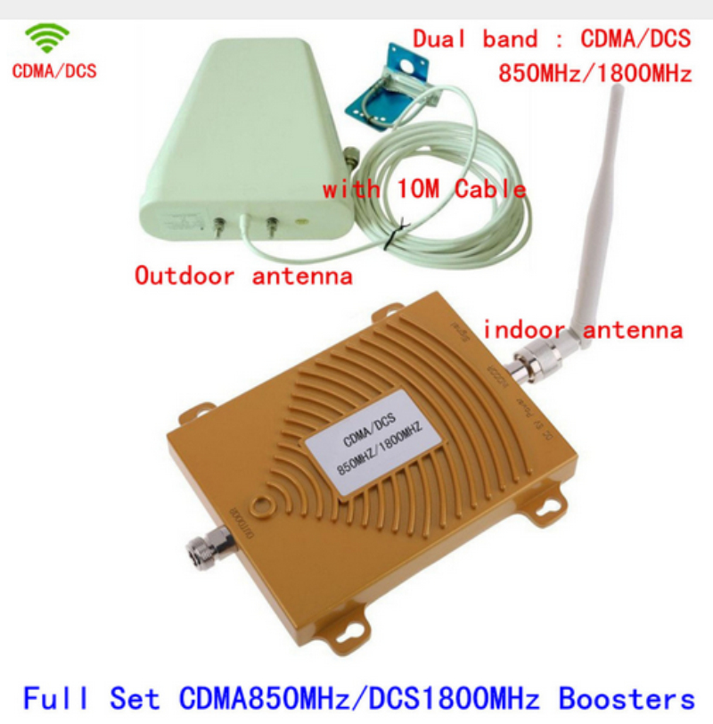 Full Set Dual Band 65dbi CDMA 850MHz + DCS 1800Mhz Repeater Mobile Phone Signal Repeater CDMA 4G DCS Booster Amplifier+AntennaFull Set Dual Band 65dbi CDMA 850MHz + DCS 1800Mhz Repeater Mobile Phone Signal Repeater CDMA 4G DCS Booster Amplifier+Antenna