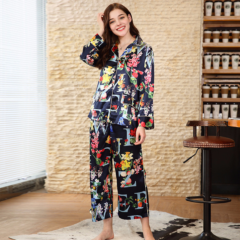 SSH0119 Women   Pajamas   Sleepwear Satin Silk 2 Pieces Brand   Pajama     Set   Female Flower Full Sleeves Ankle Length Pants Pyjama Pijama