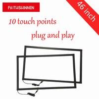 46 дюймов 10 баллов инфракрасный сенсорный рамка, ИК Сенсорный Экран Наложения Комплект Поддержка Linux/Android/Win7/8/10